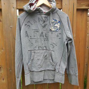 Grey American Eagle Hoodie Stamp size Small